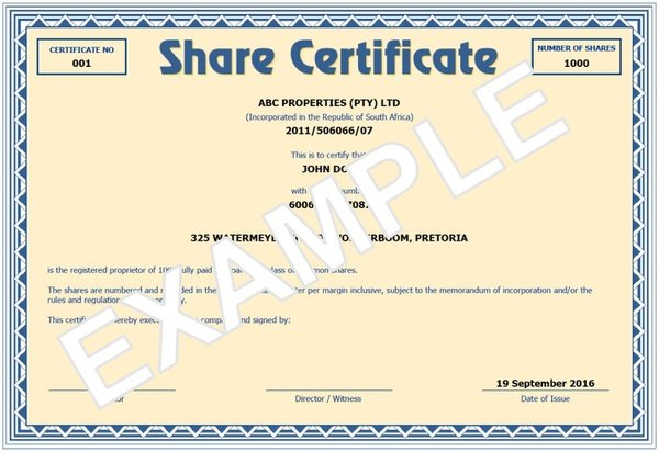 Company shareholder share certificate picture