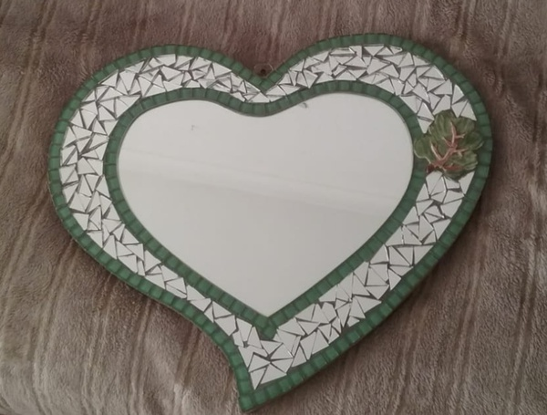 Mosaic art : heart form mirror picture