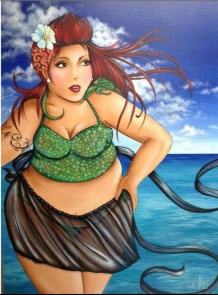 Diamond painting : fat lady at beach picture