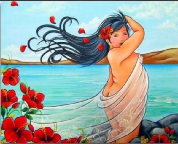 Diamond painting : fat lady beach scene picture