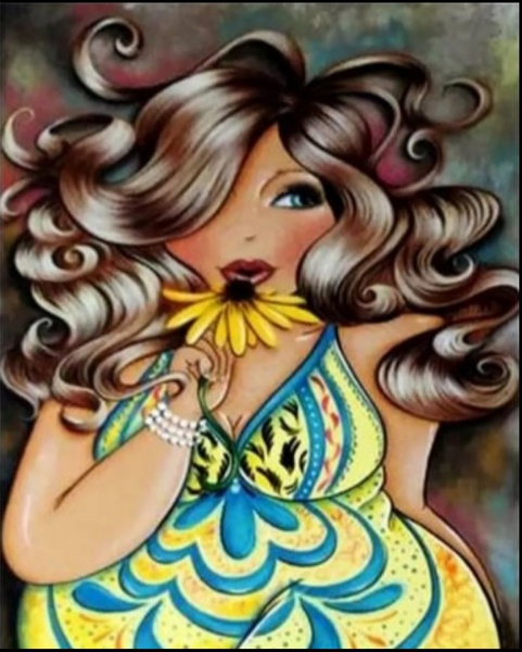 Diamond painting : fat lady smelling flower picture