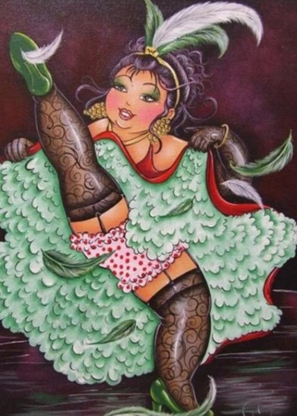 Diamond painting : fat lady dancing picture