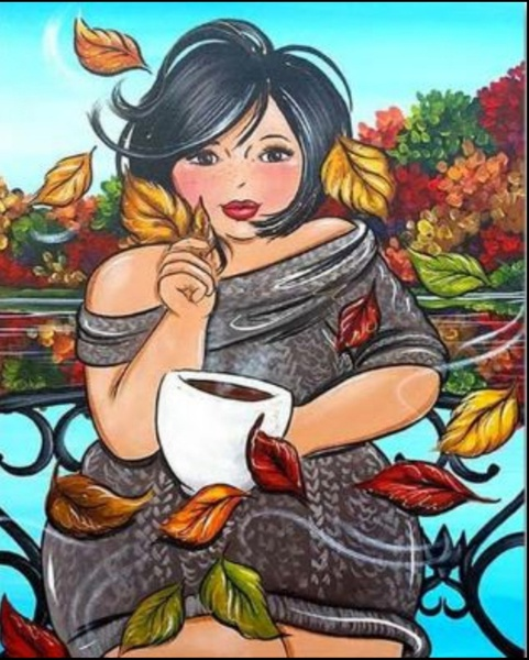 Diamond painting : fat lady autumn picture