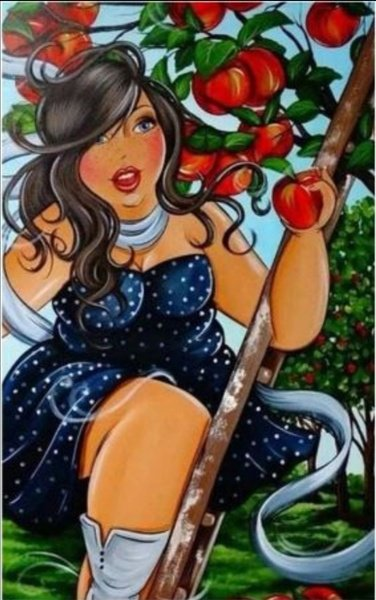 Diamond painting : fat lady with apples picture