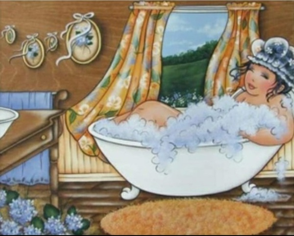 Diamond painting : fat lady in bath picture