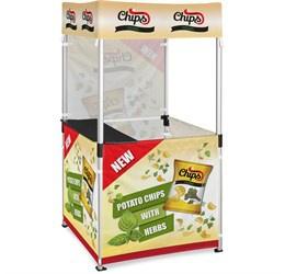 Ovation gazebo 1m x 1m kiosk 3 half-wall skins 1 full-wall skin picture