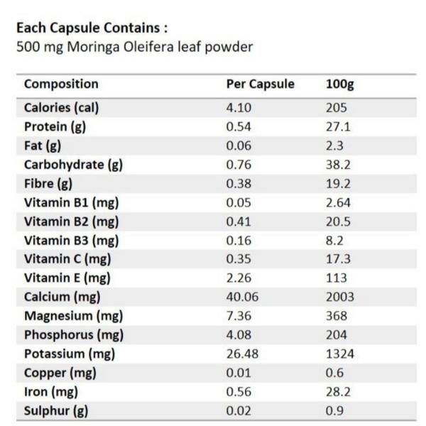 Moringa capsules 500mg picture