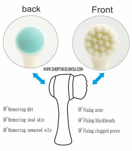 Double-sided silicone face exfoliating cleansing brush picture