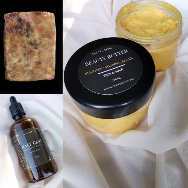 Black soap + beauty shea butter + half cast  brightening/glow oil picture