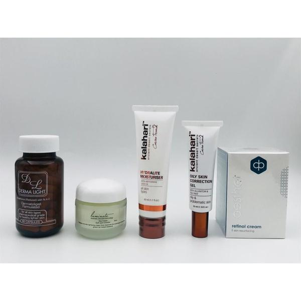 Dermalight+ luminate cream + hydralite moisturiser + oily skin correction + retinol cream picture
