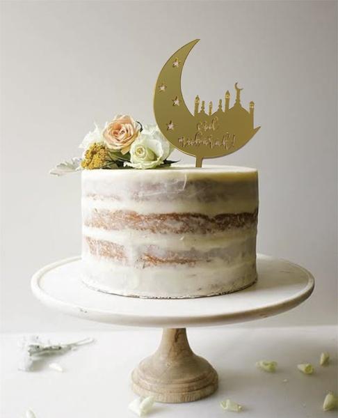 Eid mubarak moon cake topper-gold picture