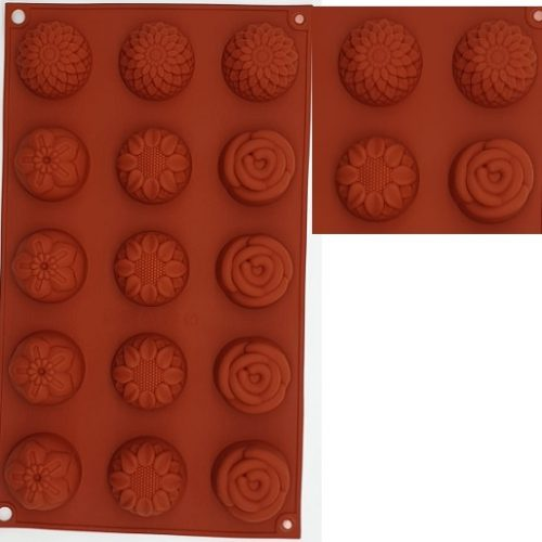 Silicone mould rose + flower 15 cavity picture