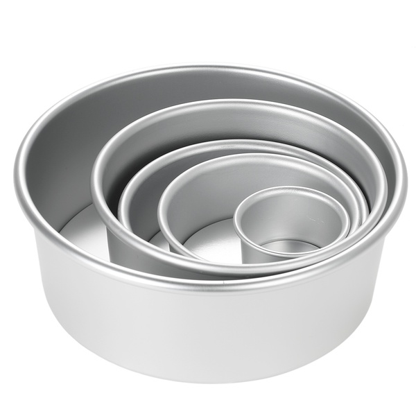 Aluminum loose bottom round baking pans asst picture