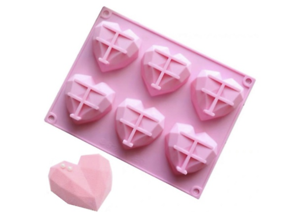 Silicone geode heart mould 6 cavity picture