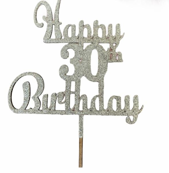 Happy 30th birthday silver wooden cape topper picture