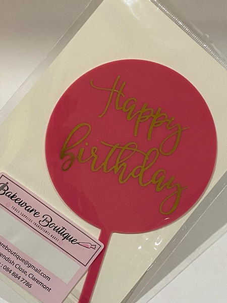 Pink and gold cake topper picture