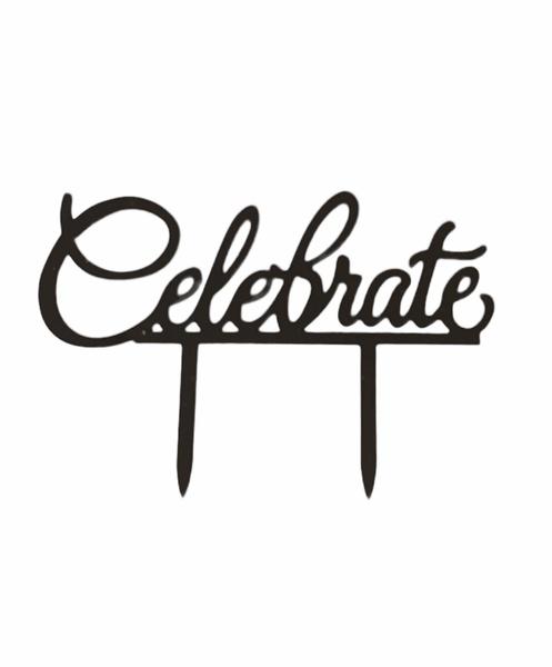 Celebrate acrylic cake topper black picture
