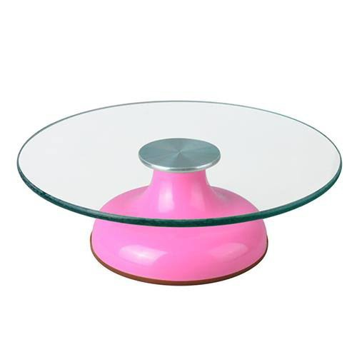 Glass turntable with metal base picture