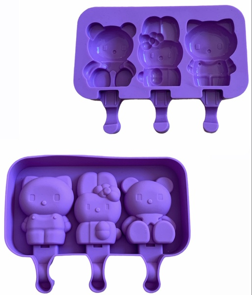 Silicone hello kitty mould 3 cavity picture
