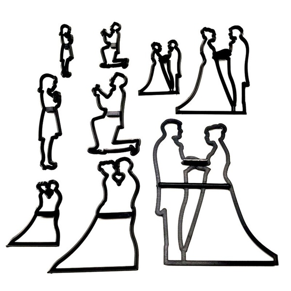 Wedding silhouette bride and groom cutter set 9pc picture