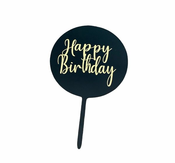 Happy birthday topper -black/gold picture