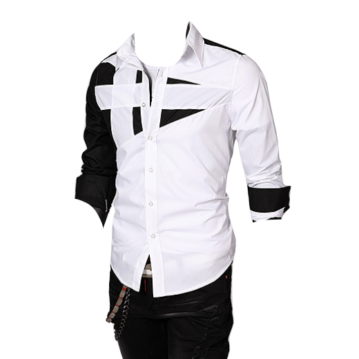 Diego long sleeve men slim fit collar button up abstract shirt white picture