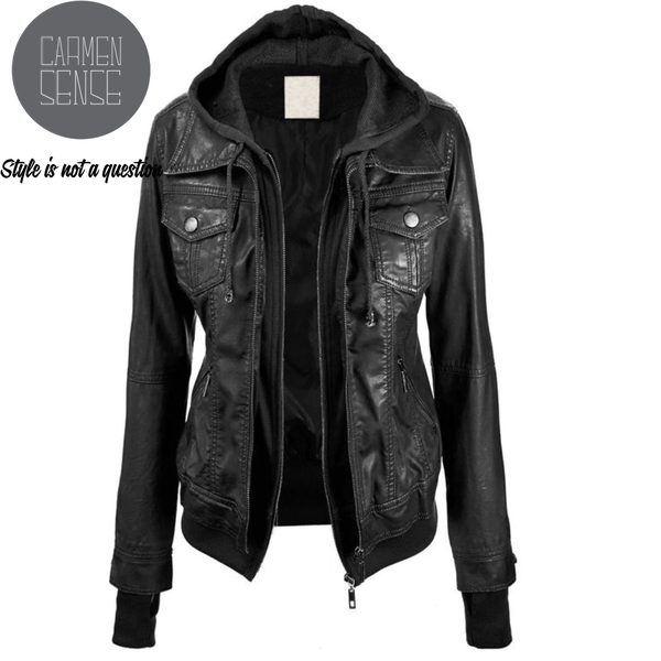 Pammy leather hooded jackets picture