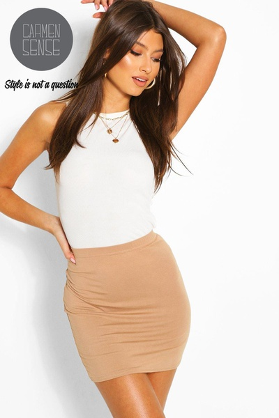 Tayla - 2 pc set - apricot pencil skirt and white vest set picture
