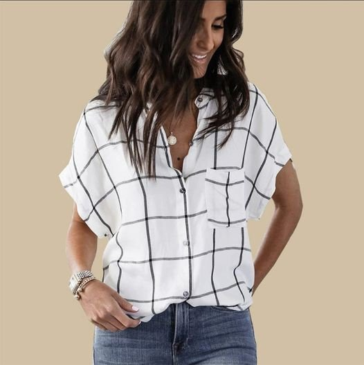 Juanita button up shirt- ladies summer wide sleeve black and white stripe shirt picture