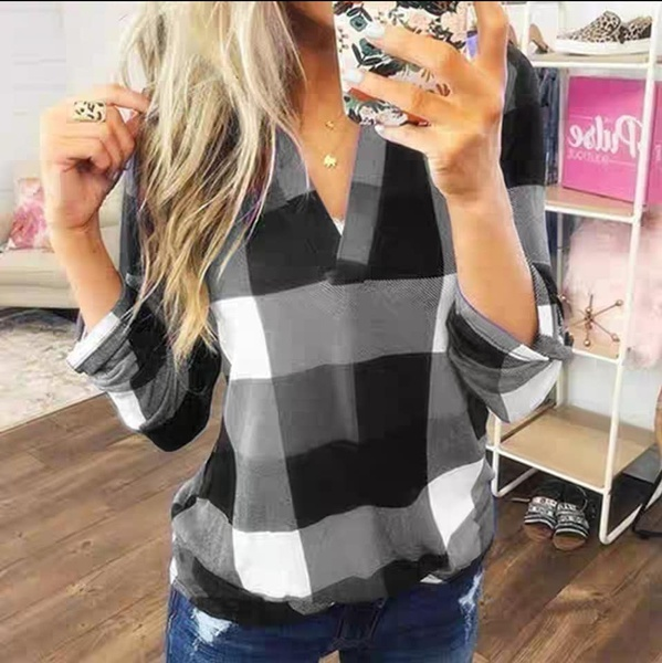 Megan v neck ladies shirts  - large block checked shirts with adjustable sleeves picture