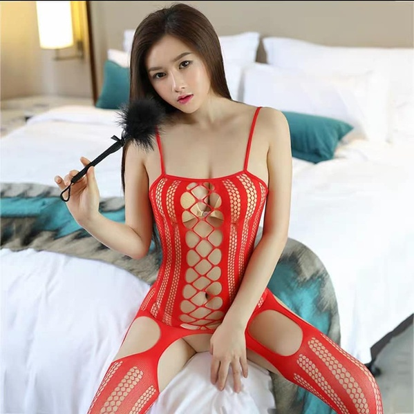 Alessandra - red body stocking lingerie picture