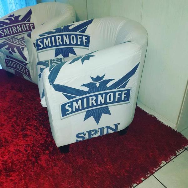 Smirnoff custom refurbished tub chair set with dark red shaggy carpet picture