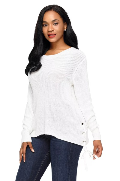 Janice - side lace up jersey - white picture