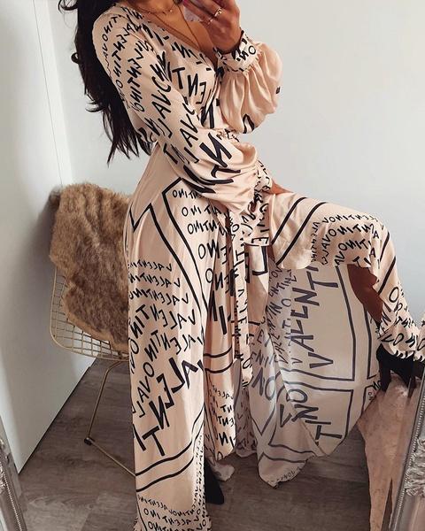 Alpha q - bohemian lettered maxi dress picture