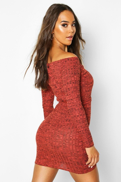 Macey - off shoulder knit mini dress picture