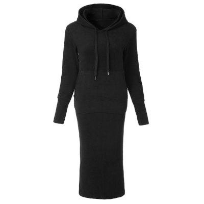 Blakley - black pencil skirt and hoodie top set picture