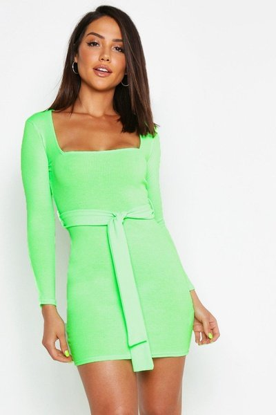 Danni--lou green square neck mini bodycon dress picture