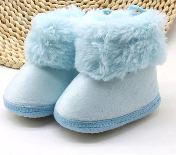 Baby blue fleece top booties picture