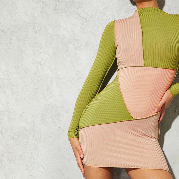 Ashleigh reverse mini dress  - green beige picture