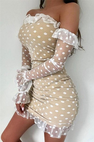Tracy polka off shoulder pencil dress picture