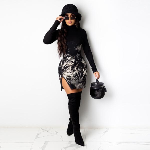 Mia marble zipper bodycon dress picture