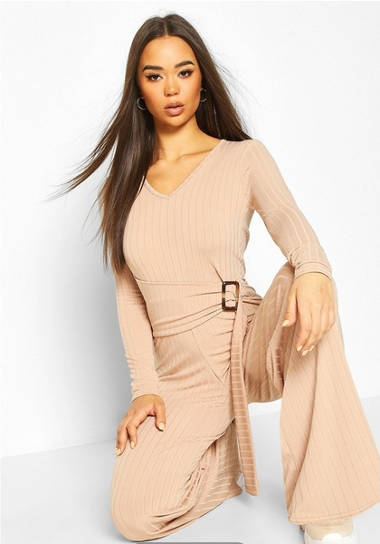Maddie - apricot beige belted jumpsuit picture