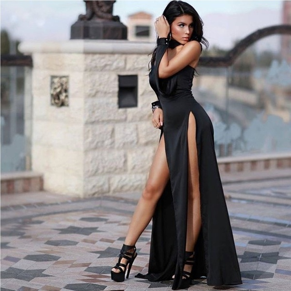 Sarah- black slit dress with collar band picture