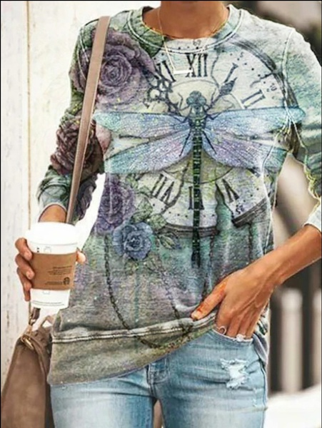 Dragonfly long sleeve tops picture
