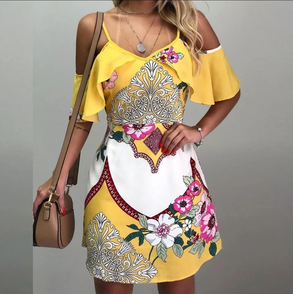 Charlize yellow floral off shoulder mini dress picture