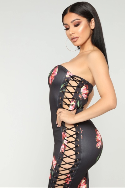 Rose lace up side pencil bodycon dress picture