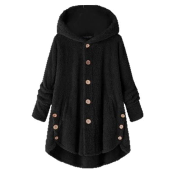 Teddy fleece plush soft touch women's hoodie coat black picture