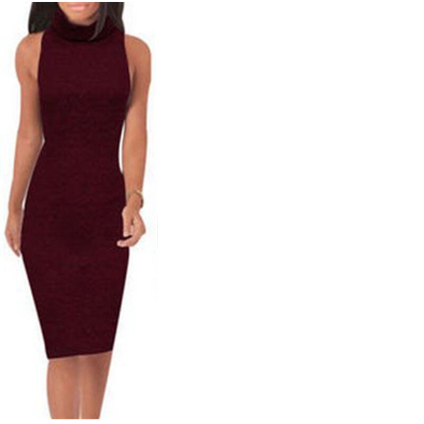 Alice - knitted high neck pencil dress - burgundy picture