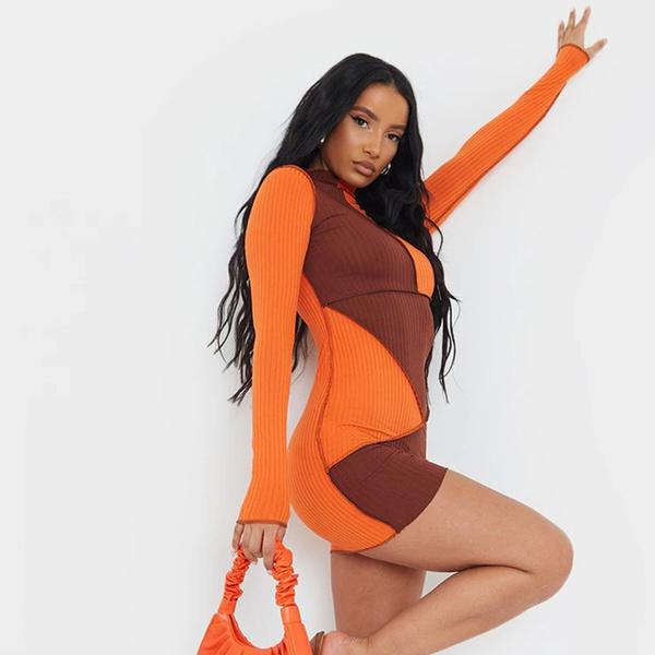 Ashleigh reverse mini dress  - orange choc picture