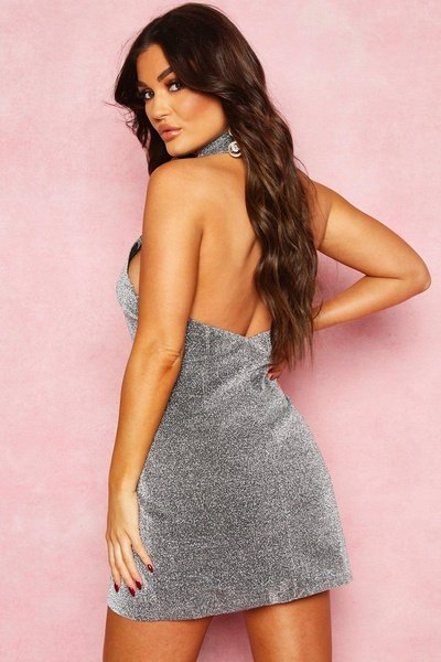 Holly - halter neck glitter blazer mini dress picture